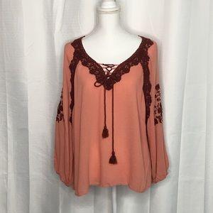 Lenora Rose Crochet Embellished Tie Front Top 1X